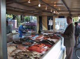 A well-dressed gentleman buys fish.