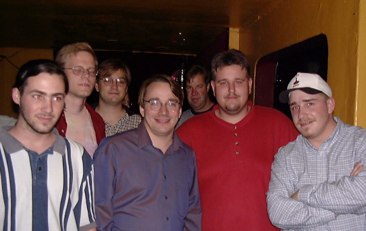 From left to right: Dan Cox (VA Research), dannyman (Tellme), Dave Terrell (Confinity), Linus Torvalds (Transmeta), Uriah Welcome, Rob Liesenfeld (Veritas)