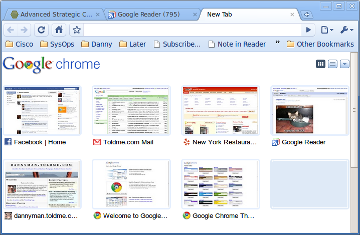 "Google Chrome's ""new tab"" screen."