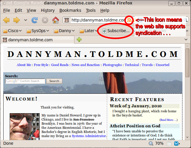 A view of the Subscribe and note buttons in Firefox.