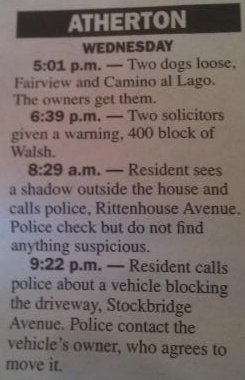 The Police Blotter for Atherton, CA