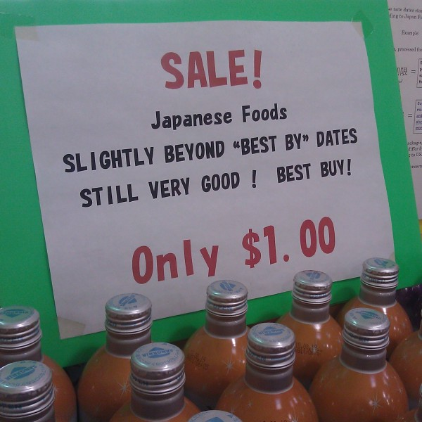 "Sale!  Japanese Foods slightly beyond ""best by"" dates still very good!  Best buy!"