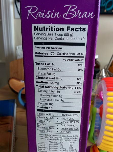 Nutrition Facts for Trader Joes Raisin Bran