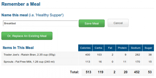 myfitnesspal: saving a measured breakfast.
