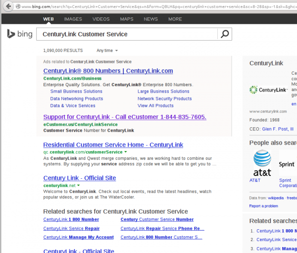 Bing leads you to a convenient toll-free number to call for technical support!