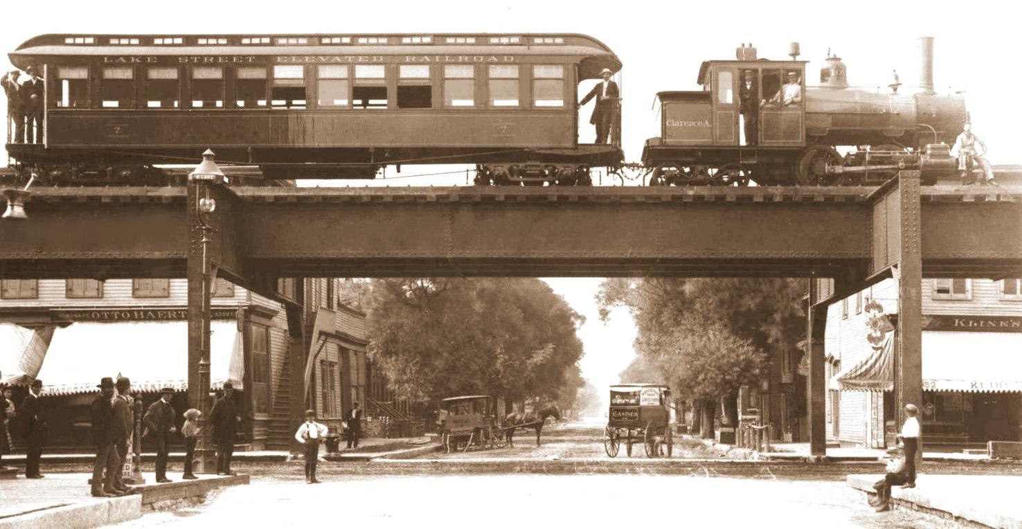 Forney engine pulls Lake Street Elevated Railroad train over Lake Street in Chicago, 1893.