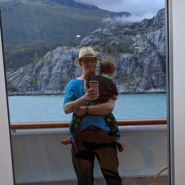 Homo sapiens caring for its young on a cruise ship off the coast of Alaska.