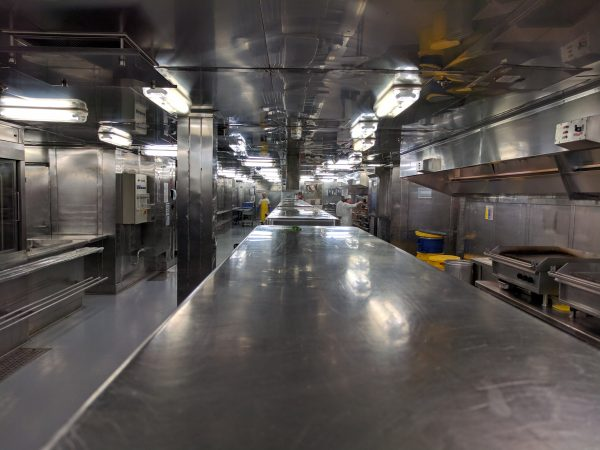 The galley. Huge. Stainless. Spotless.