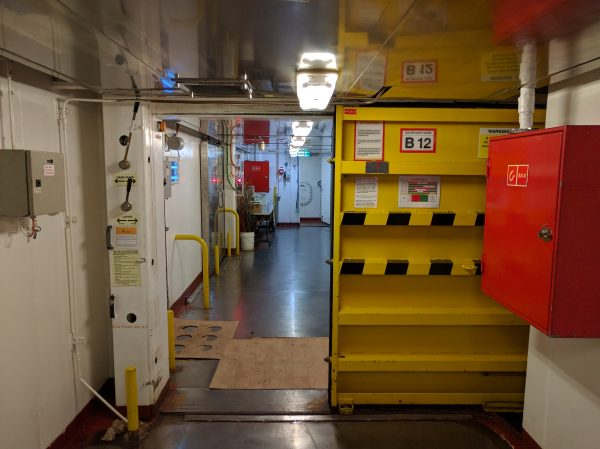B Deck is under water, so you'll see waterproof doors, and you can tell you are on a ship. You see nothing like this in guest areas.
