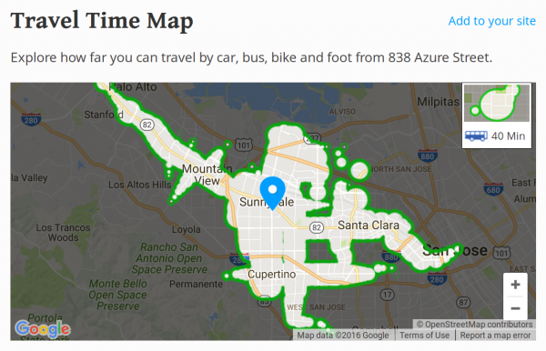 Via Walk Score: where you can get from 838 Azure via public transit