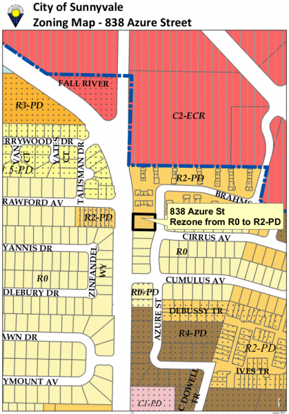Proposed zoning for 838 Azure St