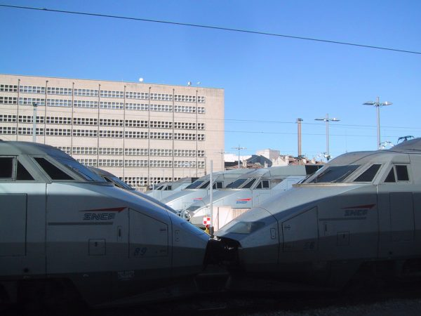 A fleet of TGV waiting to serve passengers in Marseille in 2002. These French trains have a top speed of 200 MPH.