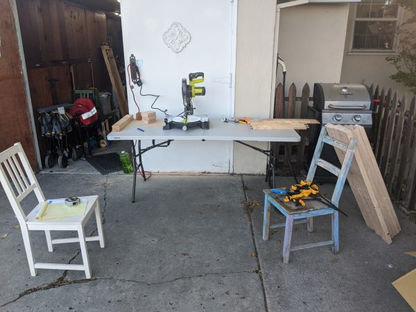 Miter saw set up on a folding table
